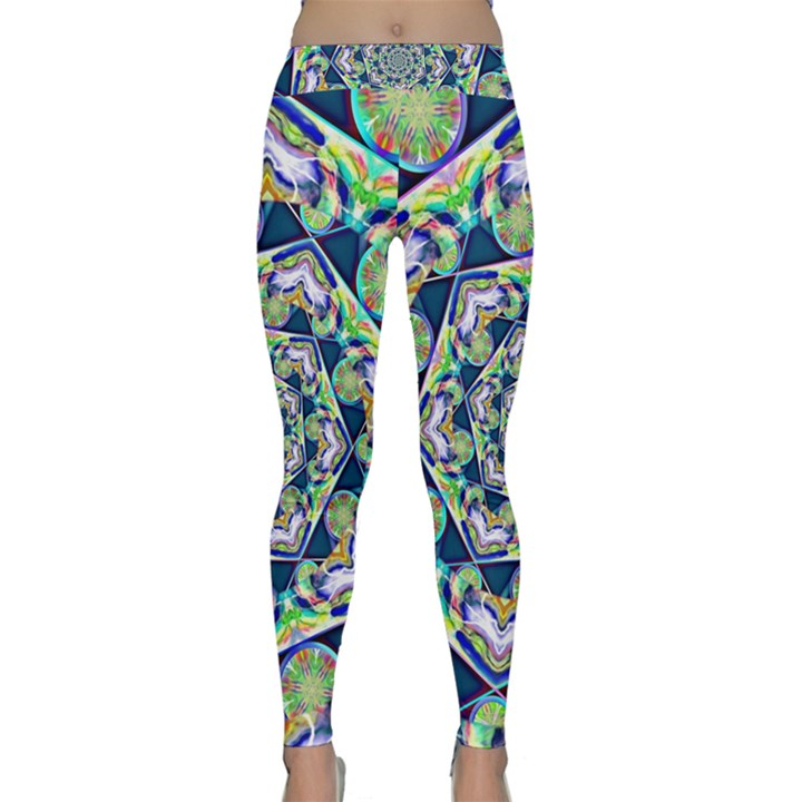 Power Spiral Polygon Blue Green White Yoga Leggings