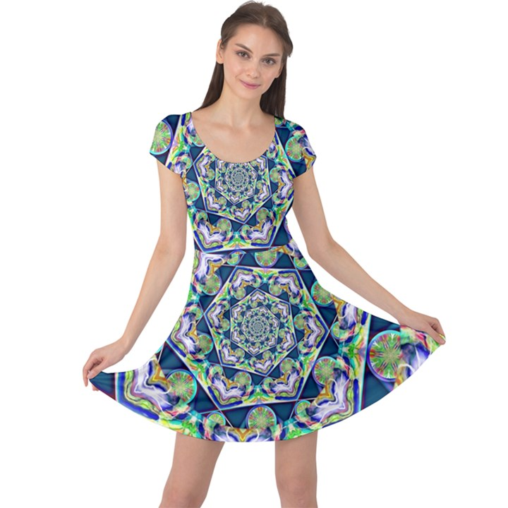 Power Spiral Polygon Blue Green White Cap Sleeve Dresses
