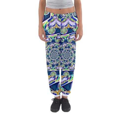 Power Spiral Polygon Blue Green White Women s Jogger Sweatpants