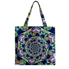 Power Spiral Polygon Blue Green White Zipper Grocery Tote Bag
