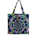 Power Spiral Polygon Blue Green White Zipper Grocery Tote Bag View1