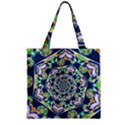 Power Spiral Polygon Blue Green White Zipper Grocery Tote Bag View2