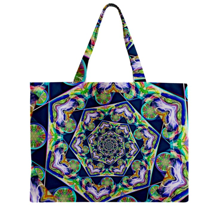 Power Spiral Polygon Blue Green White Zipper Mini Tote Bag