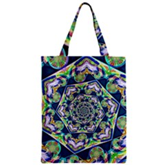 Power Spiral Polygon Blue Green White Zipper Classic Tote Bag