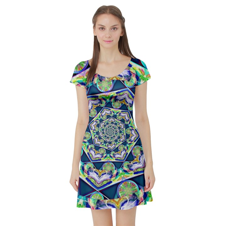 Power Spiral Polygon Blue Green White Short Sleeve Skater Dress