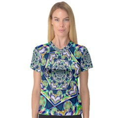 Power Spiral Polygon Blue Green White Women s V Neck Sport Mesh Tee