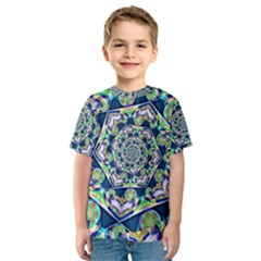 Power Spiral Polygon Blue Green White Kids  Sport Mesh Tee