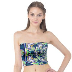 Power Spiral Polygon Blue Green White Tube Top