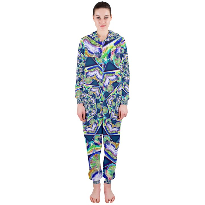 Power Spiral Polygon Blue Green White Hooded Jumpsuit (Ladies)