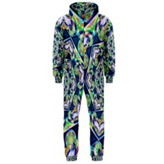 Power Spiral Polygon Blue Green White Hooded Jumpsuit (Men)