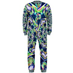 Power Spiral Polygon Blue Green White Onepiece Jumpsuit (men)