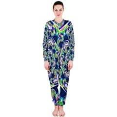 Power Spiral Polygon Blue Green White Onepiece Jumpsuit (ladies)