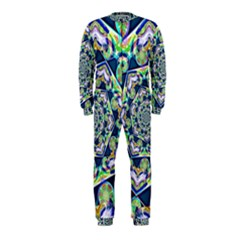Power Spiral Polygon Blue Green White Onepiece Jumpsuit (kids)