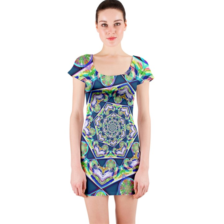Power Spiral Polygon Blue Green White Short Sleeve Bodycon Dress