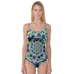 Power Spiral Polygon Blue Green White Camisole Leotard
