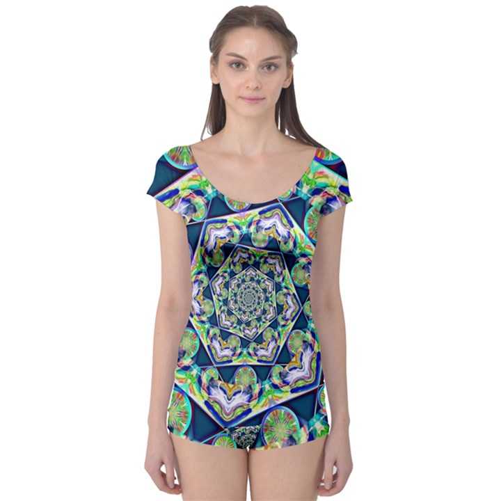 Power Spiral Polygon Blue Green White Boyleg Leotard