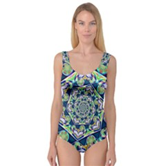 Power Spiral Polygon Blue Green White Princess Tank Leotard