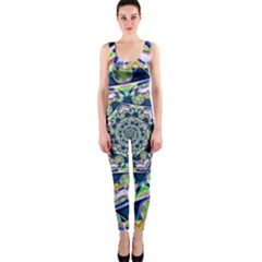 Power Spiral Polygon Blue Green White OnePiece Catsuit