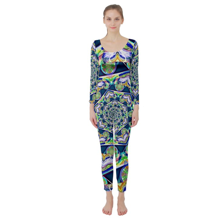Power Spiral Polygon Blue Green White Long Sleeve Catsuit