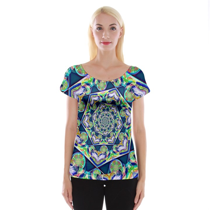 Power Spiral Polygon Blue Green White Women s Cap Sleeve Top
