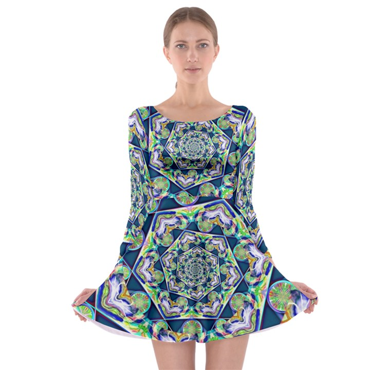 Power Spiral Polygon Blue Green White Long Sleeve Skater Dress