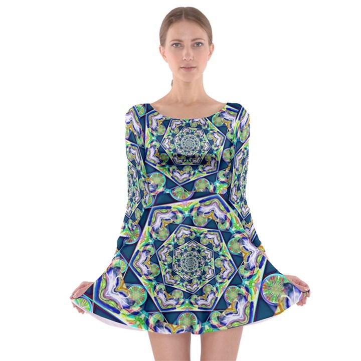 Power Spiral Polygon Blue Green White Long Sleeve Skater Dress