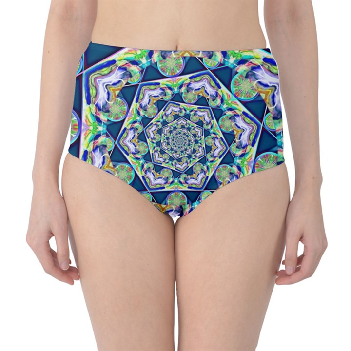 Power Spiral Polygon Blue Green White High-Waist Bikini Bottoms