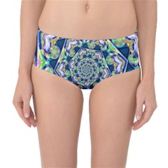 Power Spiral Polygon Blue Green White Mid Waist Bikini Bottoms