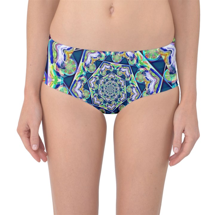 Power Spiral Polygon Blue Green White Mid-Waist Bikini Bottoms