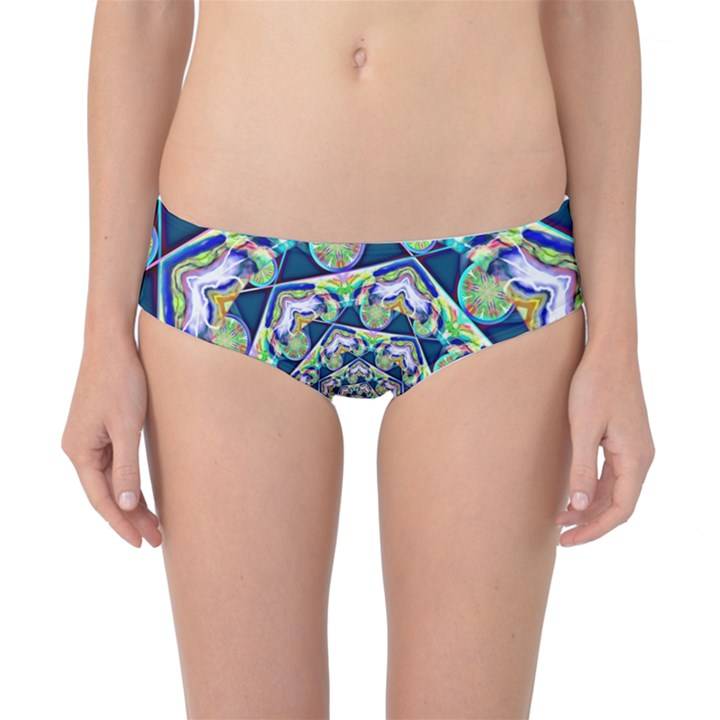 Power Spiral Polygon Blue Green White Classic Bikini Bottoms