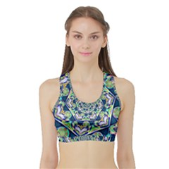 Power Spiral Polygon Blue Green White Sports Bra With Border