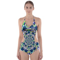 Power Spiral Polygon Blue Green White Cut-Out One Piece Swimsuit