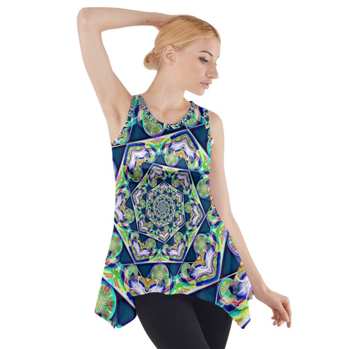 Power Spiral Polygon Blue Green White Side Drop Tank Tunic