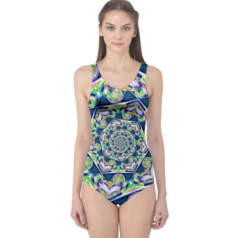 Power Spiral Polygon Blue Green White One Piece Swimsuit