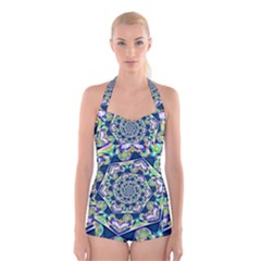 Power Spiral Polygon Blue Green White Boyleg Halter Swimsuit