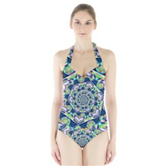 Power Spiral Polygon Blue Green White Halter Swimsuit