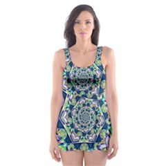 Power Spiral Polygon Blue Green White Skater Dress Swimsuit