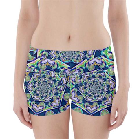 Power Spiral Polygon Blue Green White Boyleg Bikini Wrap Bottoms