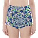 Power Spiral Polygon Blue Green White High-Waisted Bikini Bottoms View1