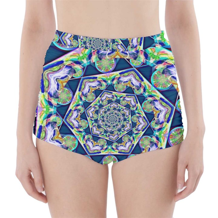 Power Spiral Polygon Blue Green White High-Waisted Bikini Bottoms