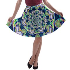 Power Spiral Polygon Blue Green White A-line Skater Skirt
