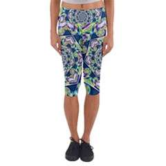 Power Spiral Polygon Blue Green White Capri Yoga Leggings