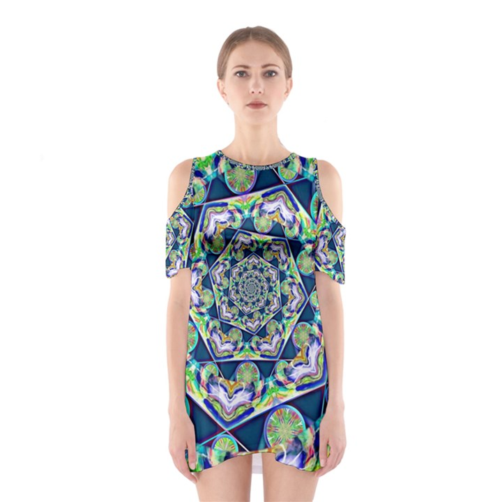 Power Spiral Polygon Blue Green White Cutout Shoulder Dress