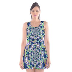 Power Spiral Polygon Blue Green White Scoop Neck Skater Dress