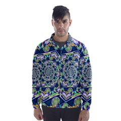 Power Spiral Polygon Blue Green White Wind Breaker (Men)