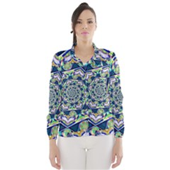 Power Spiral Polygon Blue Green White Wind Breaker (Women)