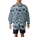 Power Spiral Polygon Blue Green White Wind Breaker (Kids) View1