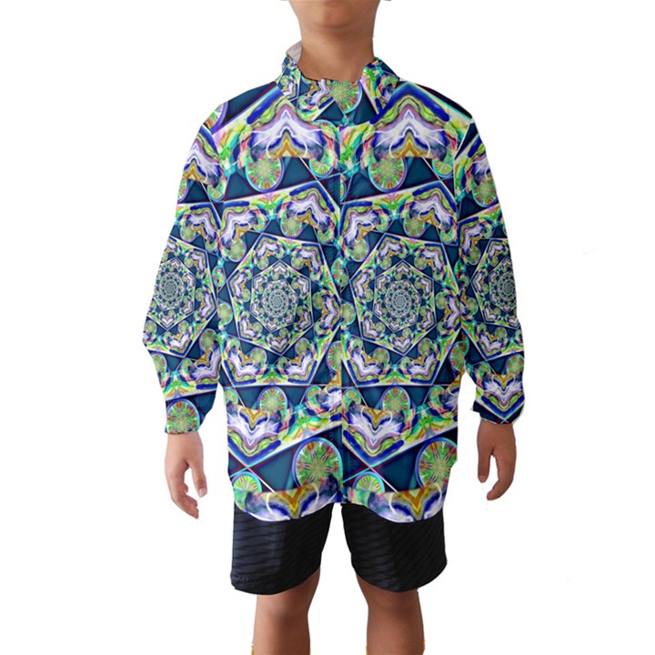 Power Spiral Polygon Blue Green White Wind Breaker (Kids)