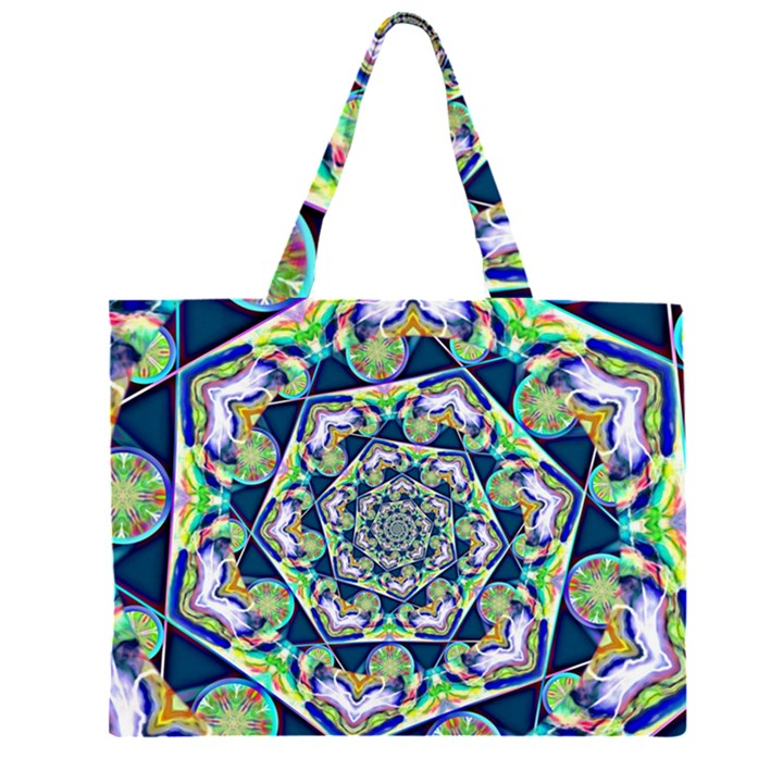 Power Spiral Polygon Blue Green White Large Tote Bag