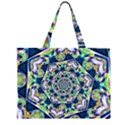 Power Spiral Polygon Blue Green White Large Tote Bag View2